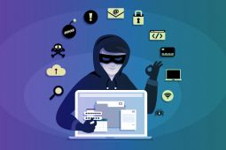 Illustration of a social engineer stealing from a laptop