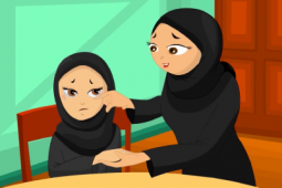 An animation of a mother comforting her sad daughter.