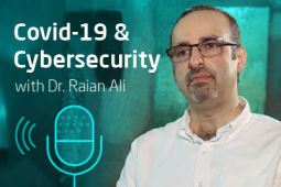 Profile picture of the expert Dr. Rain Ali and next to him the words Covid-19 and Cybersecurity.
